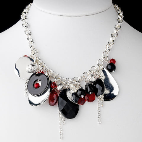 * Black & Red Stone Bridal Wedding Necklace 8304
