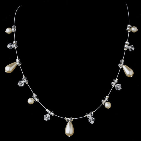 Pearl & Crystal Bridal Wedding Necklace Earrings Set 8351