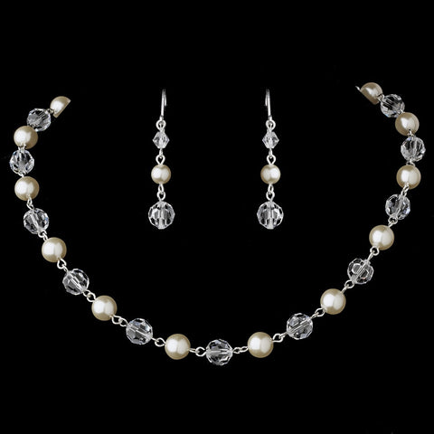 Beautiful Pearl & Crystal Bridal Wedding Necklace Earring Set N 8352 & E 8352