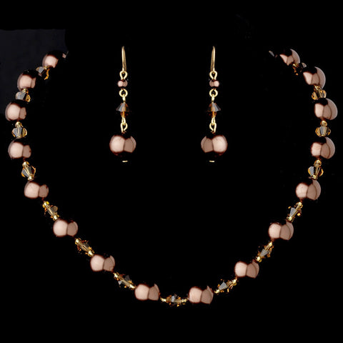 Bridal Wedding Necklace Earring Set NE 8355 Gold Bronze