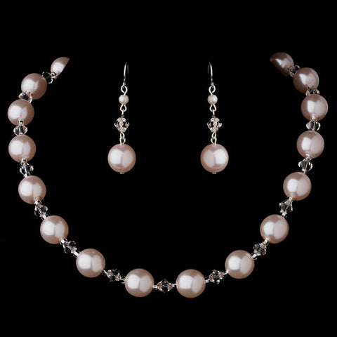 Bridal Wedding Necklace Earring Set NE 8355 Pink