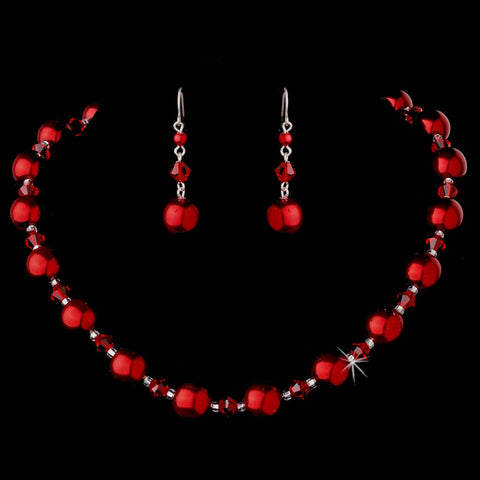 Bridal Wedding Necklace Earring Set NE 8355 Red
