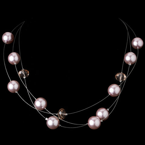 Bridal Wedding Necklace Earring Set NE 8362 Pink