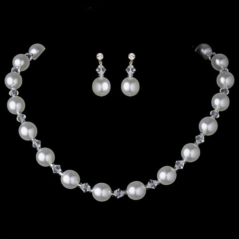 Bridal Wedding Necklace Earring Set NE 8372 White