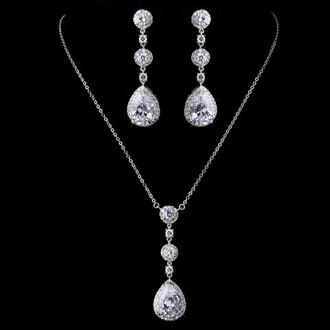Antique Silver Clear Necklace 8623 & Earrings 8676 Bridal Wedding Jewelry Set
