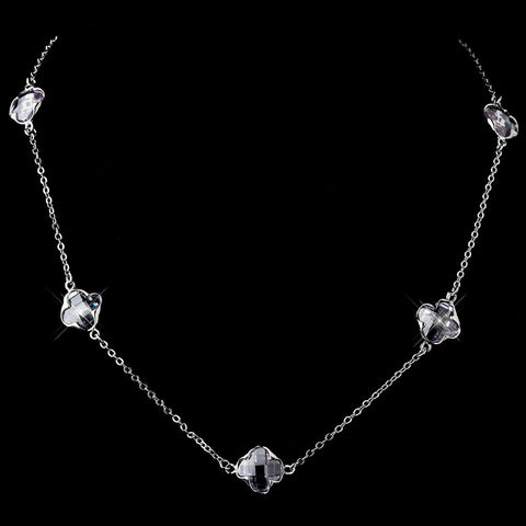Stunning Silver Clear Faceted Clover Crystal Bridal Wedding Necklace 8624