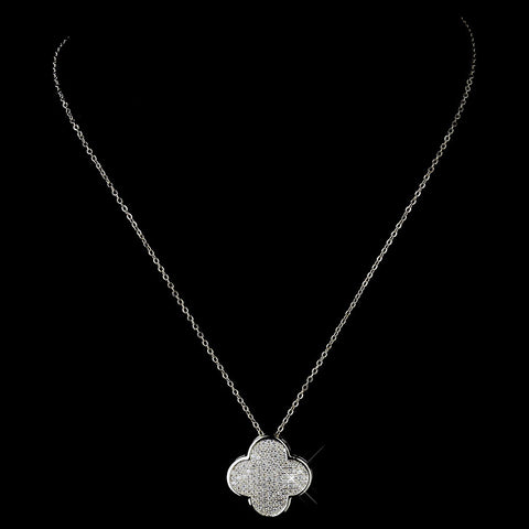 Chic Silver Micro Pave Clover Bridal Wedding Necklace 8640