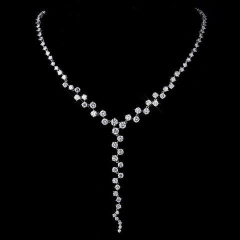 Antique Silver Clear CZ Multi Cut Stone Necklace 8649 & Earrings 8654 Bridal Wedding Jewelry Set