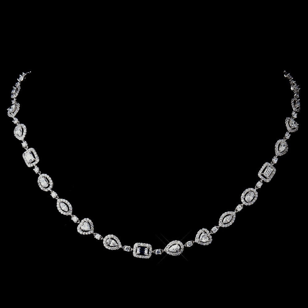 Antique Silver Clear CZ Crystal Bridal Wedding Necklace 8650 & Bridal Wedding Earrings 8650 Bridal Wedding Jewelry Set