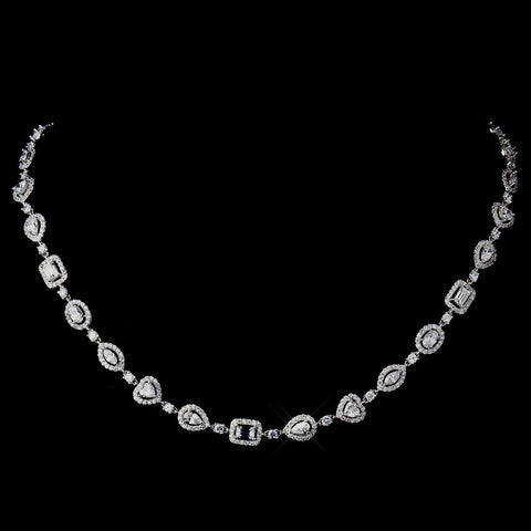 Antique Silver Clear CZ Crystal Bridal Wedding Necklace N 8650