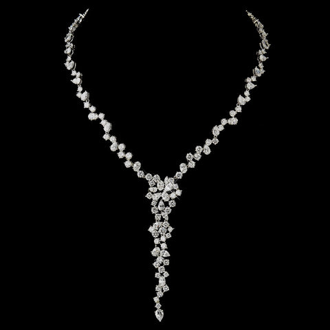 Antique Silver Clear CZ Crystal Bridal Wedding Necklace 8654
