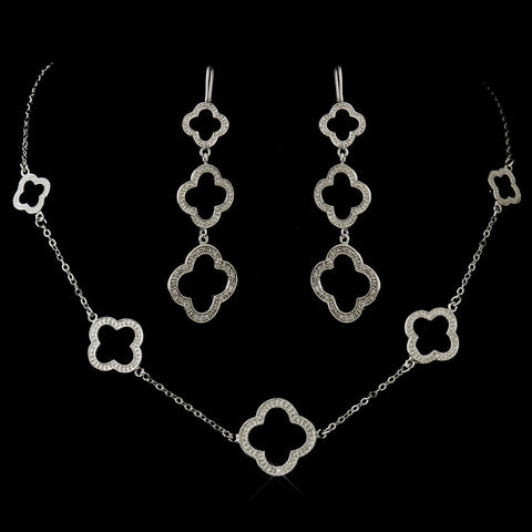 Silver Clear Clover Pendant Bridal Wedding Jewelry Set 8715
