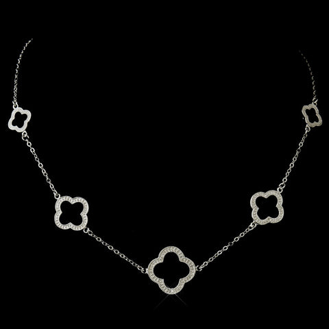 Alluring Antique Silver Designer Inspired Clover Bridal Wedding Necklace 8715