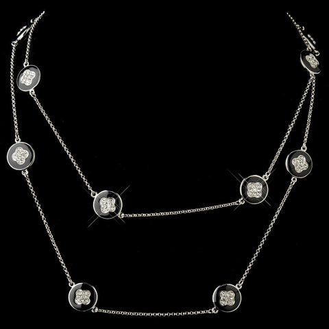 Black Stone with Silver and Crystal Bridal Wedding Necklace 8728