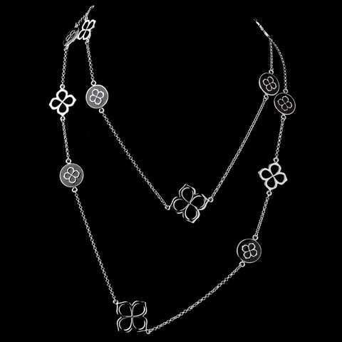 Silver and Black Chained Bridal Wedding Necklace 8729