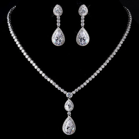 Antique Silver Clear Tear Drop CZ Stone Bridal Wedding Necklace 8749 & Bridal Wedding Earrings 8656