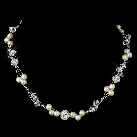 Silver Pearl and Clear Crystal Necklace 8751 & Earrings 8740 Bridal Wedding Jewelry Set