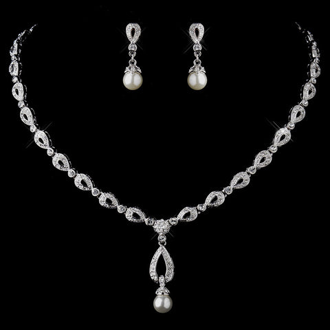 Silver Ivory Drop Pearl and Clear CZ Stone Bridal Wedding Jewelry Set 8763