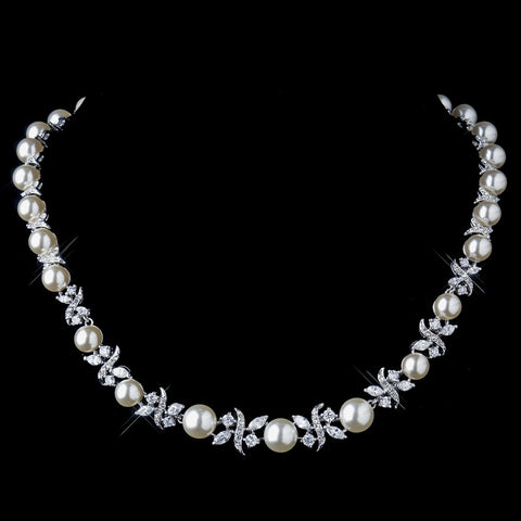 Silver Ivory Pearl and Clear CZ Stone Bridal Wedding Necklace 8765 & Bridal Wedding Earrings 8765