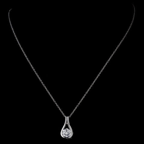 Silver Clear CZ Crystal Bridal Wedding Necklace 8789