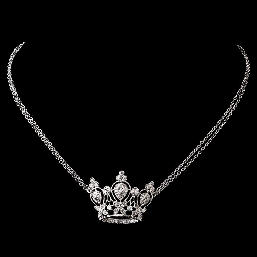 Antique Silver Clear CZ Crystal Crown Bridal Wedding Necklace 8904