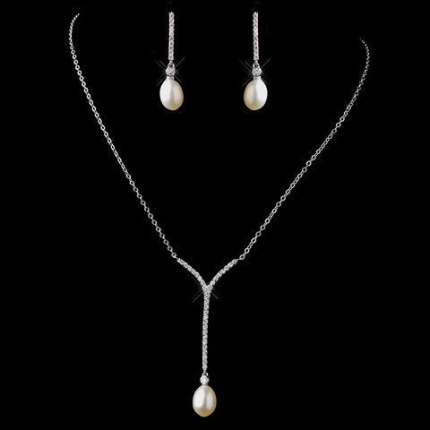Antique Silver Diamond White Freshwater Pearl Necklace & Earrings Bridal Wedding Jewelry Set 8908