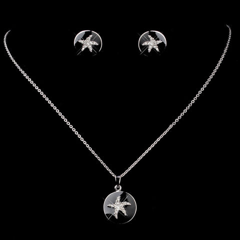 Matching Silver Black Enamel CZ Starfish Pendent & Earrings Bridal Wedding Jewelry Set 8940
