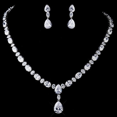 Silver Clear CZ Tear Drop Crystal Bridal Wedding Jewelry Set 8972