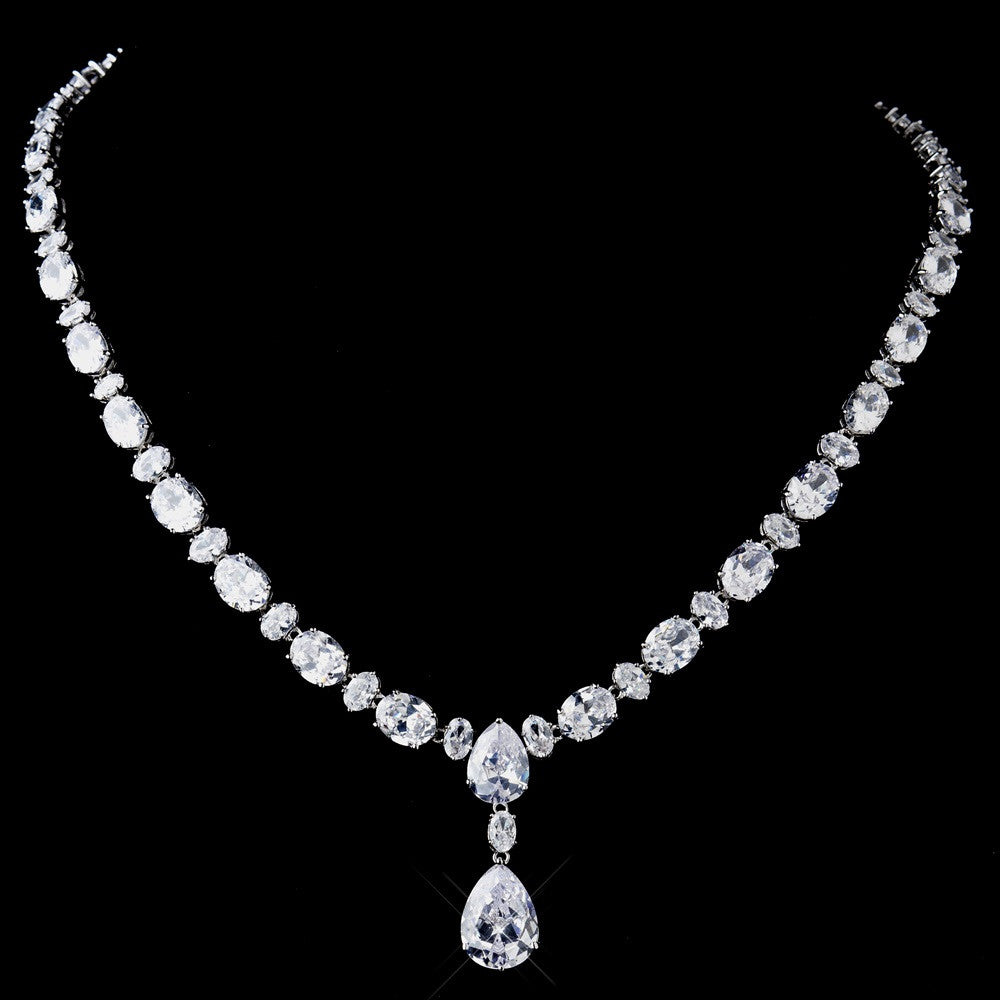Antique Silver Clear CZ Crystal Bridal Wedding Necklace 8972