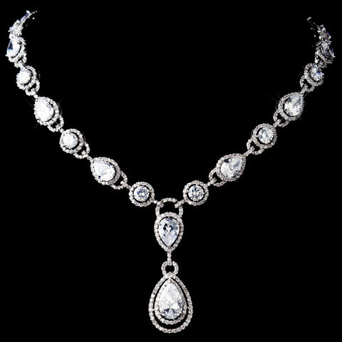 Stunning Antique Silver Clear CZ Crystal Bridal Wedding Necklace 8974