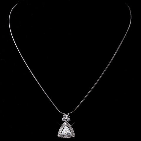 Silver Clear CZ Triangle Crystal Bridal Wedding Necklace 8976