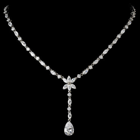 Charming Antique Silver Clear CZ Crystal Dangle Bridal Wedding Necklace 9000
