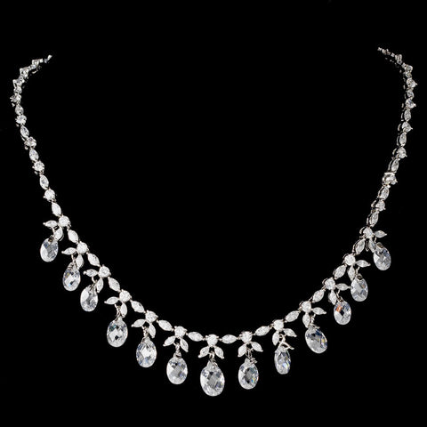 Antique Silver Clear CZ Crystal Dangle Bridal Wedding Necklace 9005