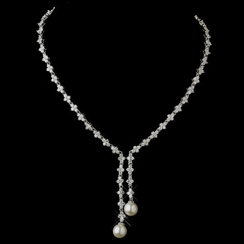 Stunning Antique Silver Pearl & CZ Bridal Wedding Necklace N 9017