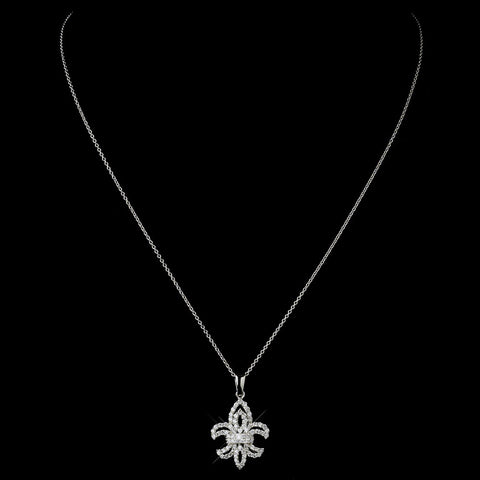 Silver Clear CZ Crystal Fleur De Lis Bridal Wedding Necklace 9250
