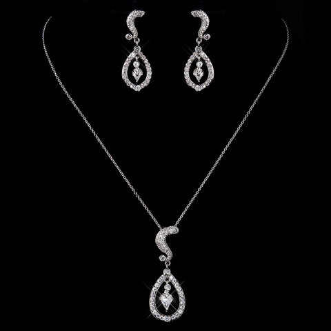 Silver Clear CZ Crystal Bridal Wedding Necklace & Earrings 9254