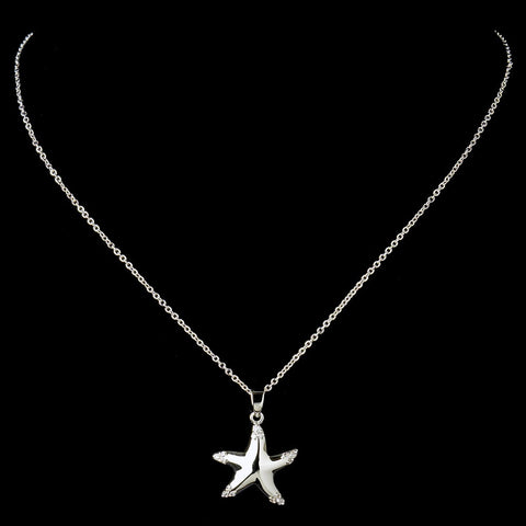 Silver Clear CZ Crystal Starfish Pendant Bridal Wedding Necklace 9257