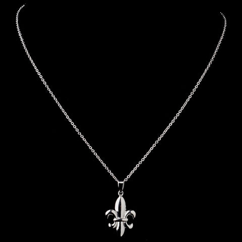 Silver Clear Fleur De Lis Pendant Bridal Wedding Necklace 9258