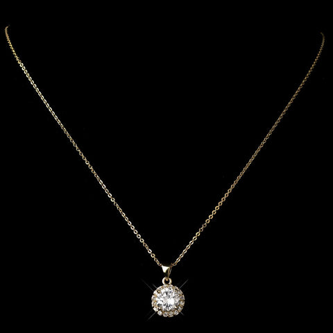 Gold Clear CZ Crystal Pave Pendant Bridal Wedding Necklace 9398