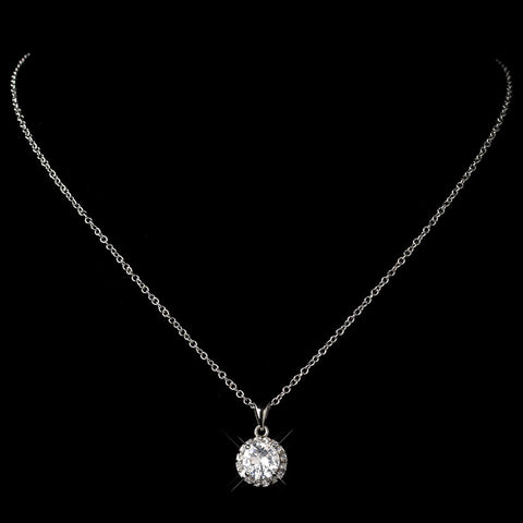Antique Rhodium Clear CZ Crystal Pave Pendant Bridal Wedding Necklace 9398
