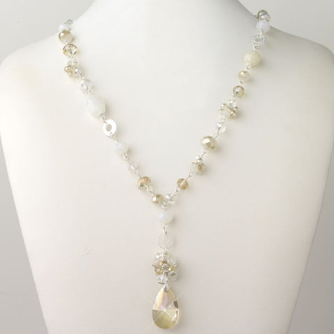 Silver Light Topaz, Champagne & Cream Faceted Glass Fashion Bridal Wedding Necklace 9507