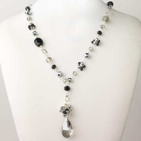 Silver Smoke Black Diamond Faceted Glass Fashion Bridal Wedding Necklace 9507