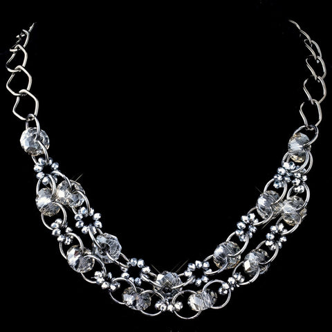 Hematite Smoke Multi Faceted Rondelle Swarovski Crystal Bead Bridal Wedding Necklace