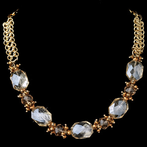 Gold Light Topaz Faceted Chunky Glass Cut Fashion Bridal Wedding Necklace 9517