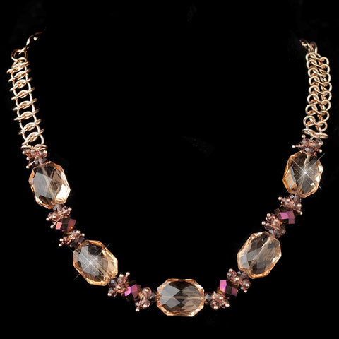 Gold Peach Faceted Chunky Glass Cut Fashion Bridal Wedding Necklace 9517
