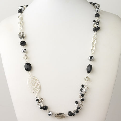 Silver Black And Hematite Faceted Glass Crystal Fashion Bridal Wedding Necklace 9526