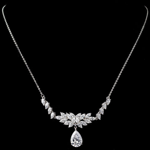 Rhodium Clear Marquise & Pear CZ Cluster Drop Bridal Wedding Necklace