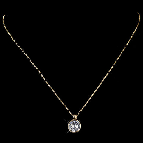 Gold Clear Round Swarovski Crystal Element On Chain Bridal Wedding Necklace 9600