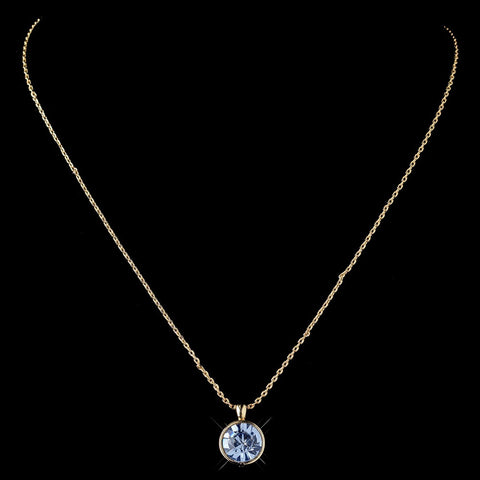Gold Light Sapphire Round Swarovski Crystal Element On Chain Bridal Wedding Necklace 9600