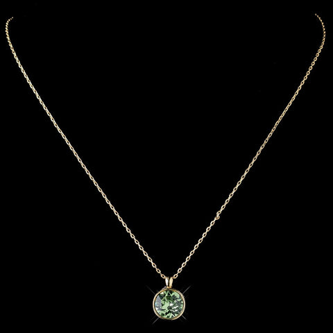 Gold Peridot Round Swarovski Crystal Element On Chain Bridal Wedding Necklace 9600